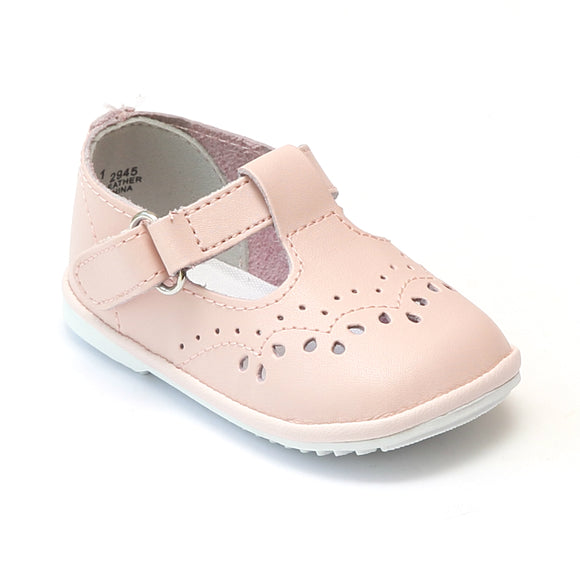 Angel Baby Girls Pink Leather T-Strap
