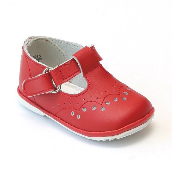 Angel Infant Girls 2945 Red Leather T-Strap Mary Janes - Babychelle.com