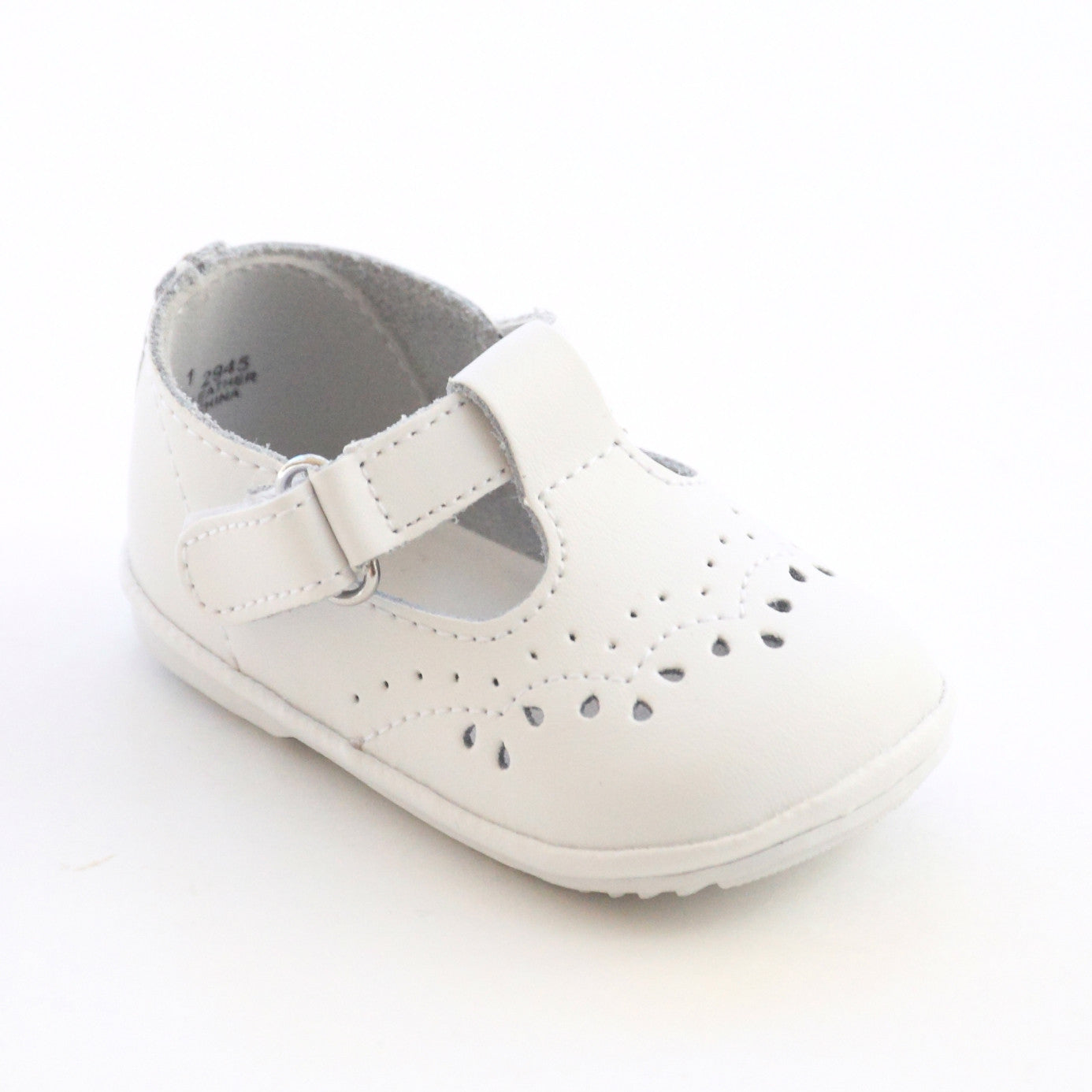 Angel Shoes Infant Girls 2945 White Leather T Strap Mary Janes