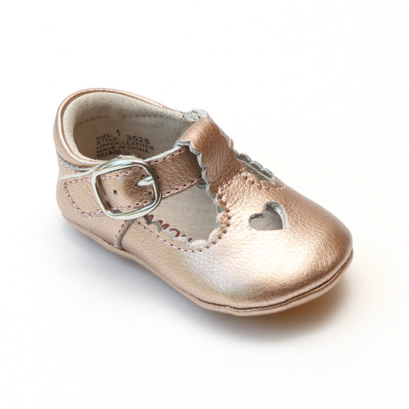 L'Amour Infant Girls Rosegold Open Heart Leather Crib Mary Janes - Babychelle.com