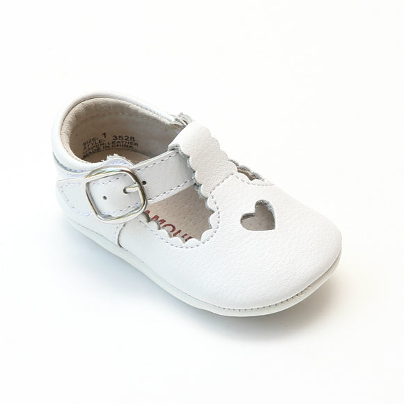 L'Amour Infant Girls White Open Heart Leather Crib Mary Janes - Babychelle.com