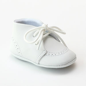L'Amour Infant Boys 3890 White Leather Dress Crib Shoes Oxfords - Babychelle.com