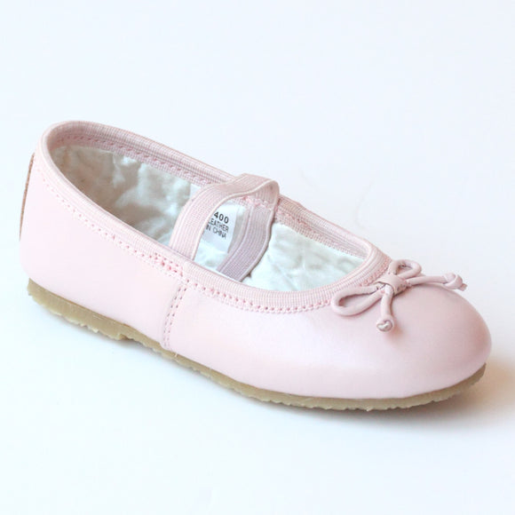 L'Amour Girls 400 Pink Bow Leather Ballet Flats