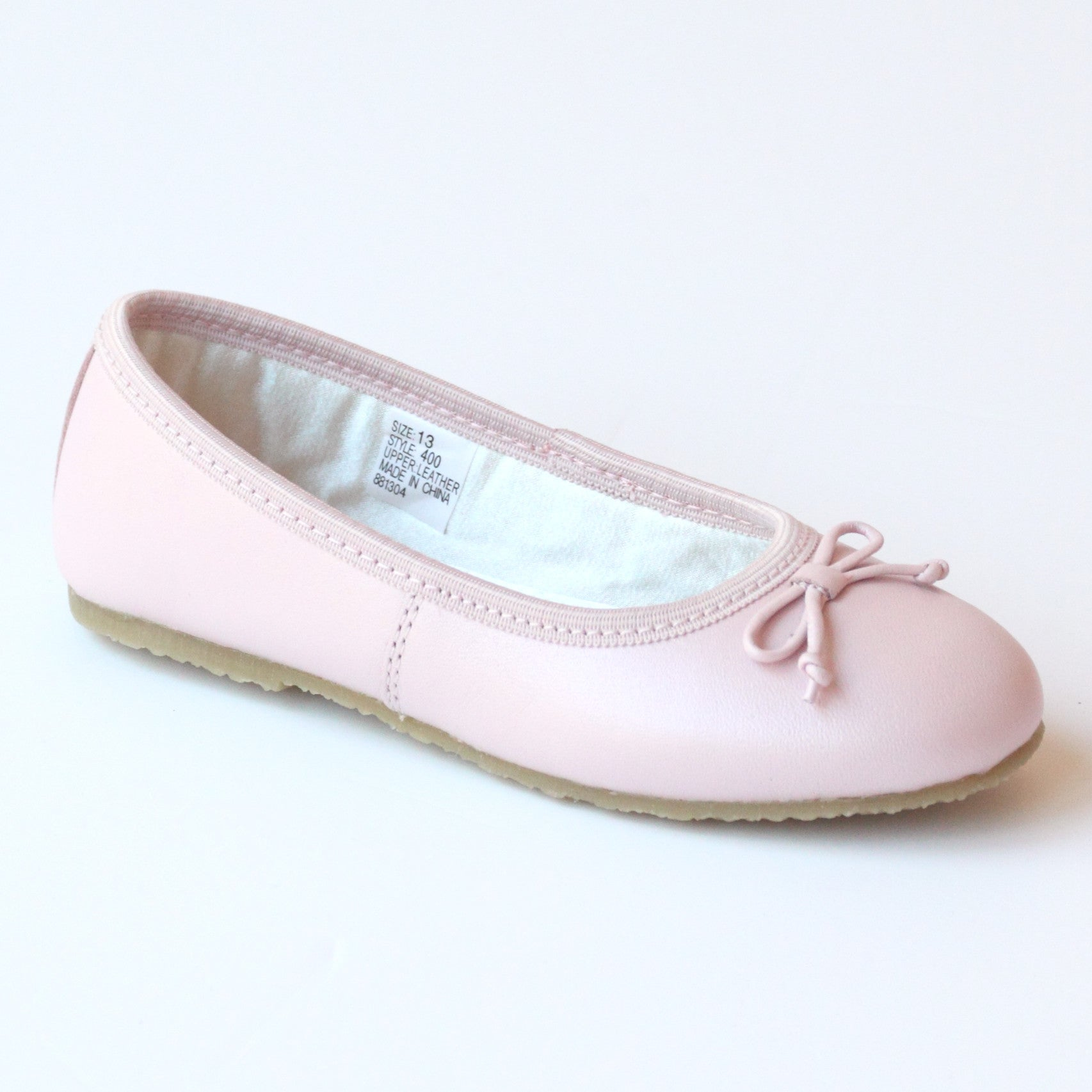 L Amour Girls 400 Pink Bow Leather Ballet Flats – Babychelle 038603a8f