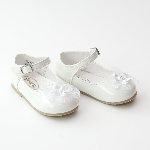 Angel Baby Girls Patent White Special Occasion Mary Janes - Babychelle.com