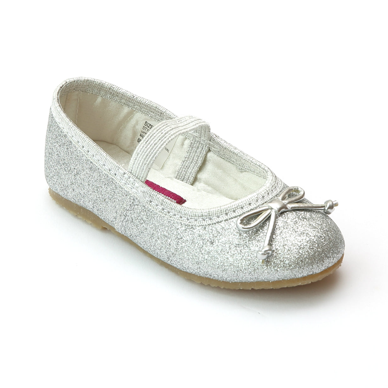 6f93d18932a4 L'Amour Shoes Girls Glitter Silver Classic Ballet Flats with Bow ...