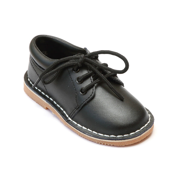 L'Amour Boys Black Leather Oxfords - Babychelle.com