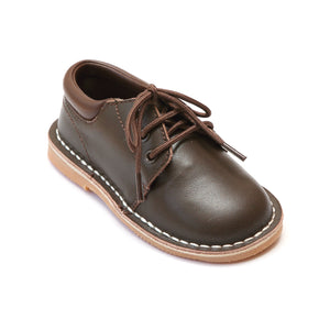 L'Amour Boys Brown Leather Lace Up Shoes - Babychelle.com