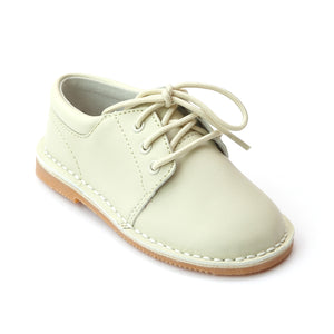 L'Amour Boys Stitch Down Cream Leather Lace Up Shoes - Babychelle.com