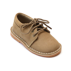 L'Amour Boys Khaki Nubuck Leather Lace Up Shoes - Babychelle.com