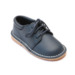 L'Amour Boys Navy Leather Lace Up Shoes - Babychelle.com