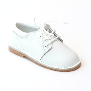 L'Amour Boys Classic White Leather Lace Oxford Shoe - Babychelle.com