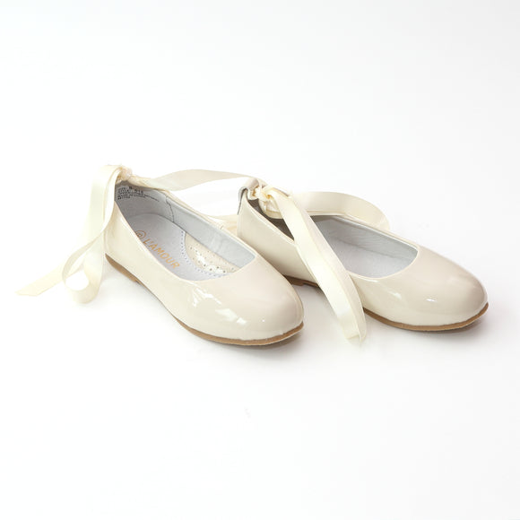 L'Amour Girls Patent Cream Flats with Satin Lace - Babychelle.com