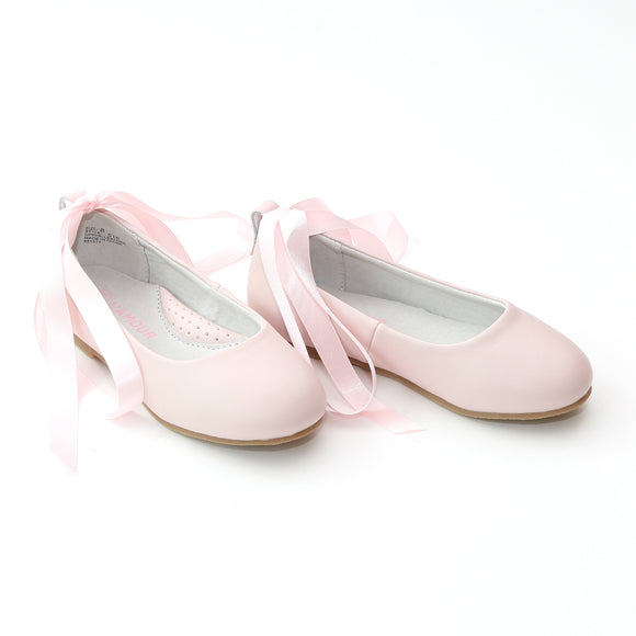 L'Amour Girls Pink Leather Flats with Satin Lace - Babychelle.com