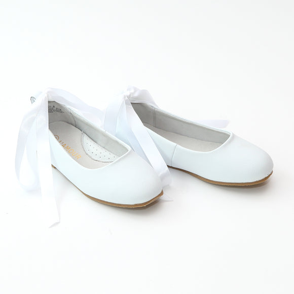 L'Amour Girls White Leather Flats with Satin Lace - Babychelle.com