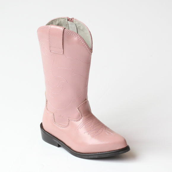 L'Amour Girls Pink Embroidered Cowboy Boots