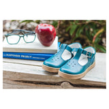 L'Amour Girls Chelsea Teal Leather T-Strap Cupsole Mary Janes - Babychelle.com