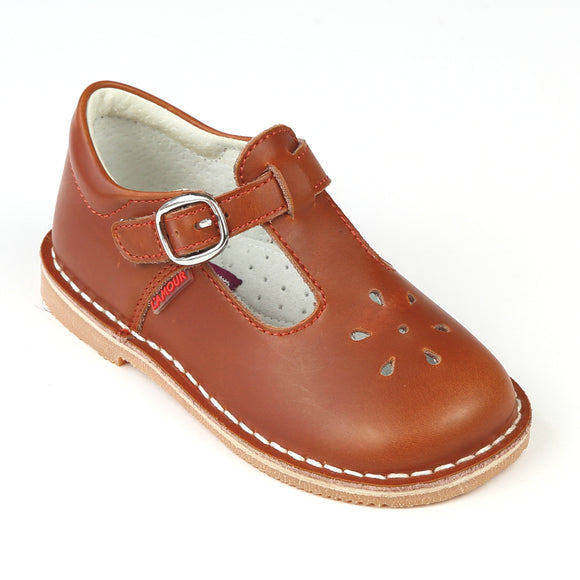 L'Amour Toddler Girls Cognac T-Strap Leather School Mary Janes - Babychelle.com