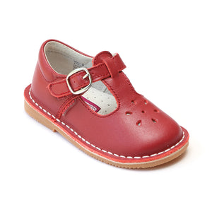 L'Amour Girls Classic 751 Red Leather Mary Janes - Babychelle.com