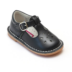 L'Amour Girls Classic 751 Black Leather Mary Janes - Babychelle.com