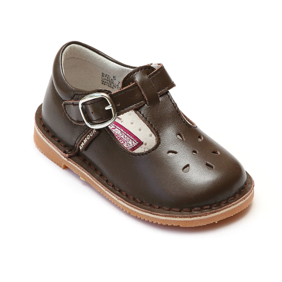 L'Amour Girls Classic 751 Brown Leather Mary Janes - Babychelle.com