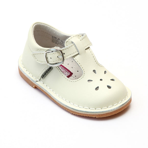L'Amour Girls Classic 751 Ecru Leather Mary Janes - Babychelle.com