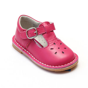 L'Amour Girls Classic 751 Fuchsia Leather Mary Janes - Babychelle.com