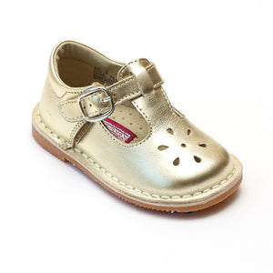 L'Amour Girls Classic 751 Patent Gold Leather Mary Janes - Babychelle.com