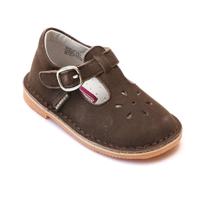 L'Amour Girls Classic Nubuck Brown Leather Mary Janes - Babychelle.com