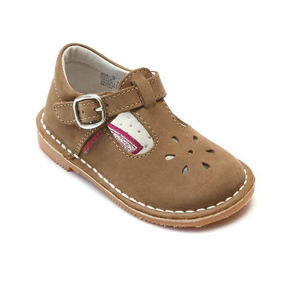 L'Amour Girls Classic 751 Nubuck Khaki Leather Mary Janes - Babychelle.com