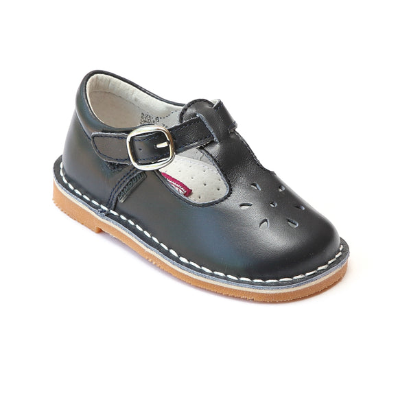 L'Amour Girls Classic 751 Navy Leather Mary Janes - Babychelle.com