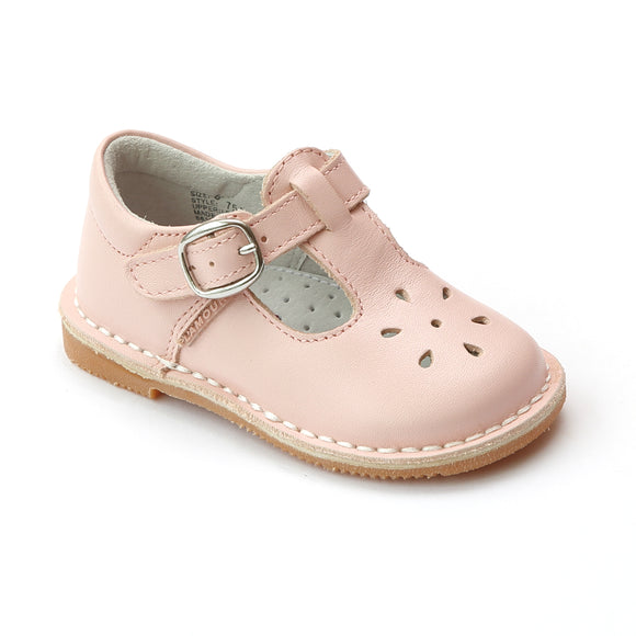 L'Amour Girls Classic 751 Pink Leather Mary Janes - Babychelle.com