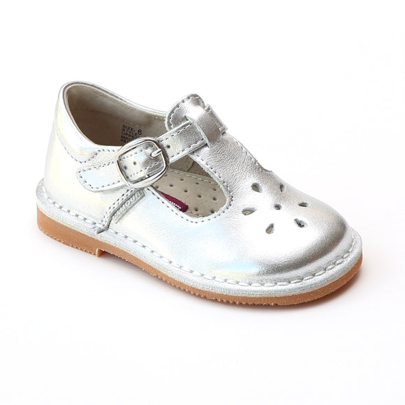 L'Amour Girls Classic 751 Patent Silver Leather Mary Janes - Babychelle.com