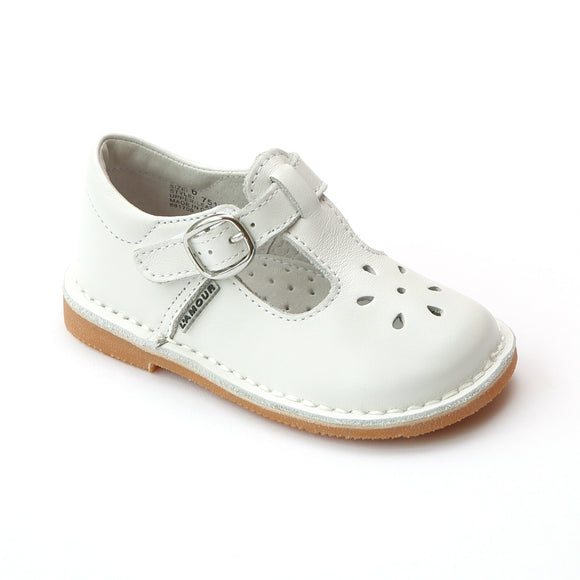 L'Amour Girls Classic 751 White Leather Mary Janes - Babychelle.com