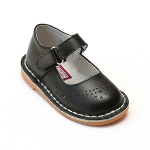L'Amour Girls Classic 758 Black Leather Mary Janes - Babychelle.com