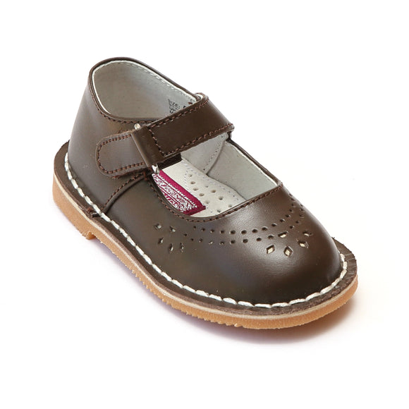 L'Amour Girls Classic 758 Brown Leather Mary Janes