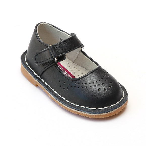 L'Amour Girls Classic 758 Navy Leather Mary Janes - Babychelle.com