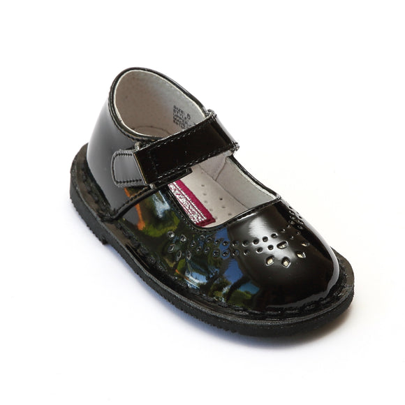 L'Amour Girls Classic 758 Patent Black Leather Mary Janes - Babychelle.com