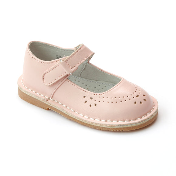 L'Amour Girls Classic 758 Pink Leather Mary Janes - Babychelle.com