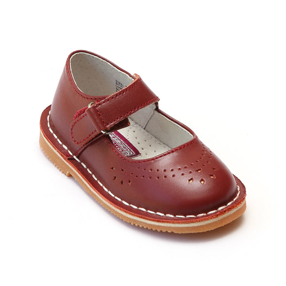 L'Amour Girls Classic 758 Red Leather Mary Janes - Babychelle.com