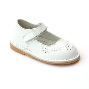 L'Amour Girls Classic 758 White Leather Mary Janes - Babychelle.com