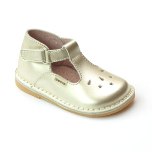 L'Amour Girls Gold Perforated Star T-Strap Mary Jane - Babychelle.com