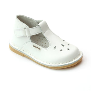 L'Amour Girls White Perforated Star T-Strap Mary Jane - Babychelle.com