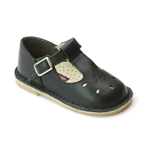 L'Amour Girls Vintage Inspired Old School Black T-Strap Leather Mary Janes - Babychelle.com