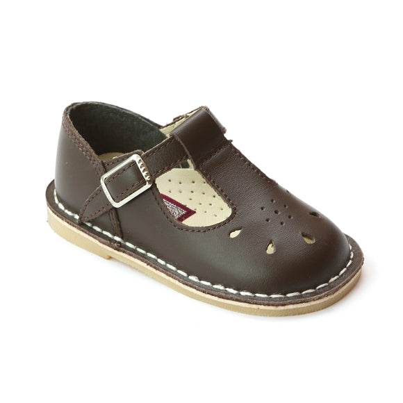 L'Amour Girls 837 Vintag Inspired Brown T-Strap Leather Mary Janes - Babychelle.com