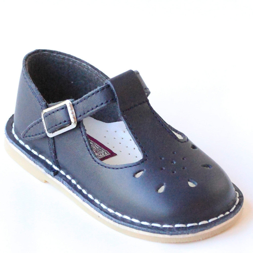 L'Amour Shoes Girls 837 Navy T-Strap Leather Mary Janes ...