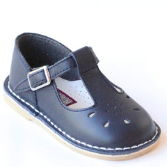 L'Amour Girls 837 Navy T-Strap Leather Mary Janes