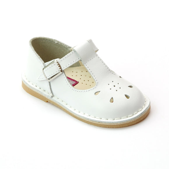 L'Amour Shoes Girls 837 White T-Strap Leather Mary Janes - Babychelle.com