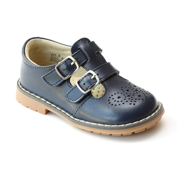 L'Amour Girls Navy Double T-Strap Buckled Leather Medallion Stitch Down Mary Jane - Babychelle.com