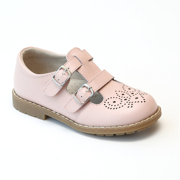 L'Amour Girls Pink Double T-Strap Buckled Medallion Stitch Down Mary Janes - Babychelle.com